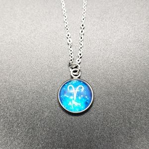 Aries Zodiac Astrology Circle Necklace